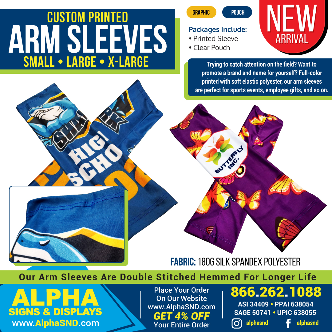 NEW PRODUCT ARRIVAL! Custom Printed Arm Sleeves
