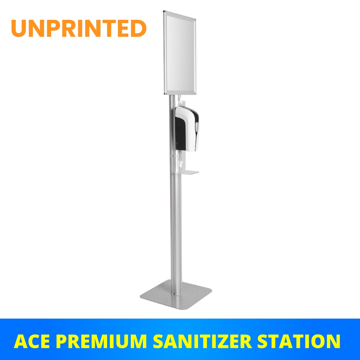 (UNPRINTED) ACE Premium Sanitizer Station w/ LIQUID or GEL Dispenser - Single Sided Sign