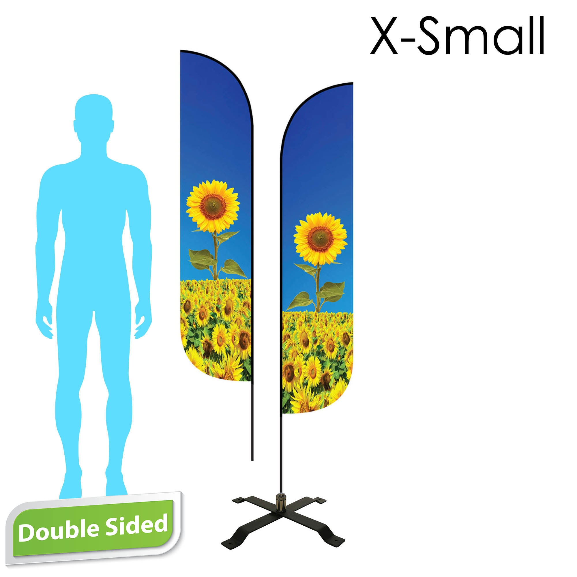Feather Flag 7' Premium Double-Sided With Black X-Base & Carry Bag (X-Small)