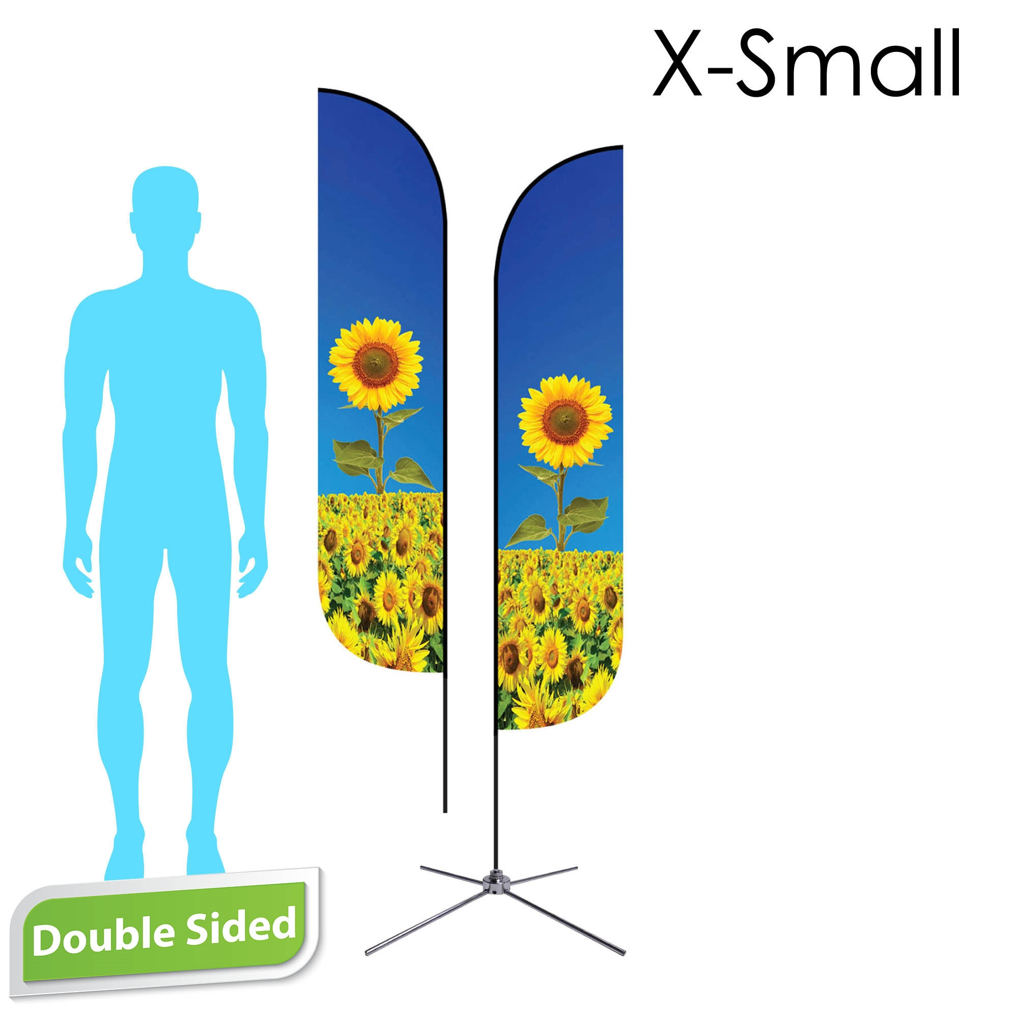 Feather Flag 7' Premium Double-Sided With Chrome X-Base & Carry Bag (X-Small)