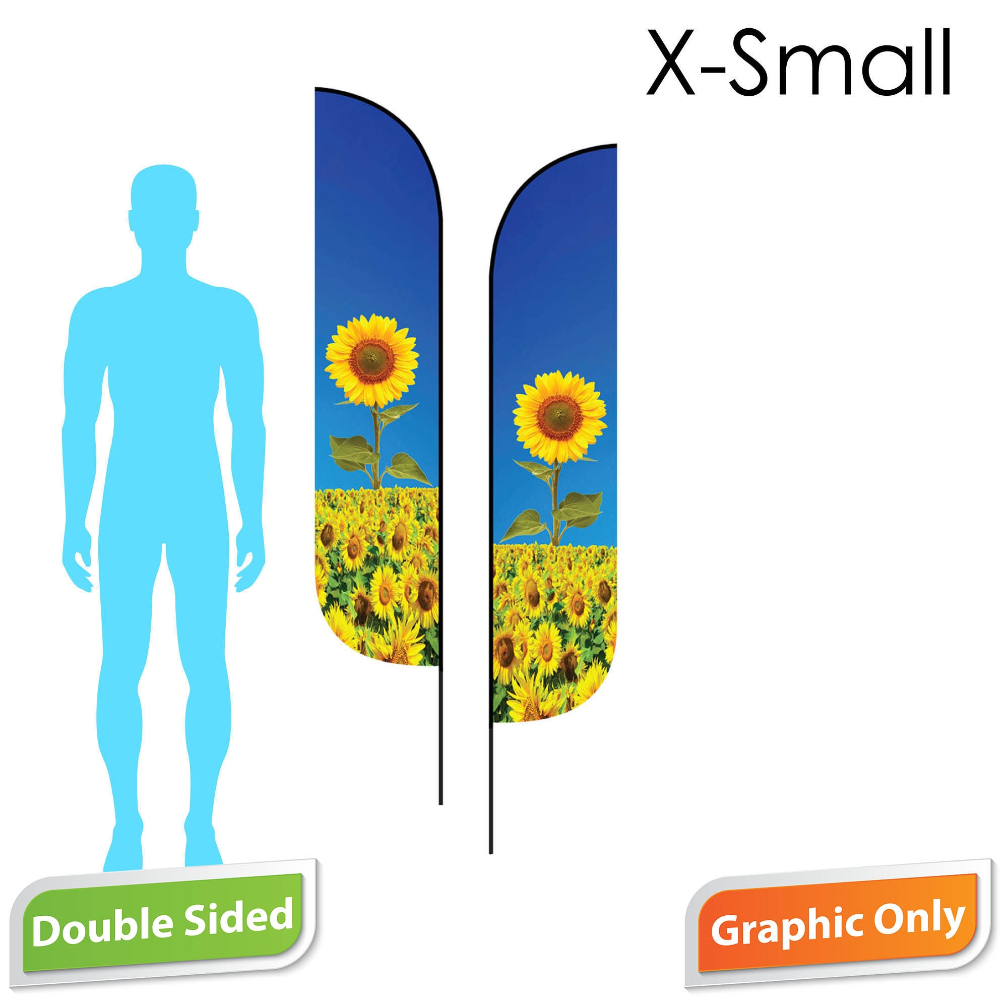 Feather Flag 7' Premium Double-Sided PRINT ONLY (X-Small)