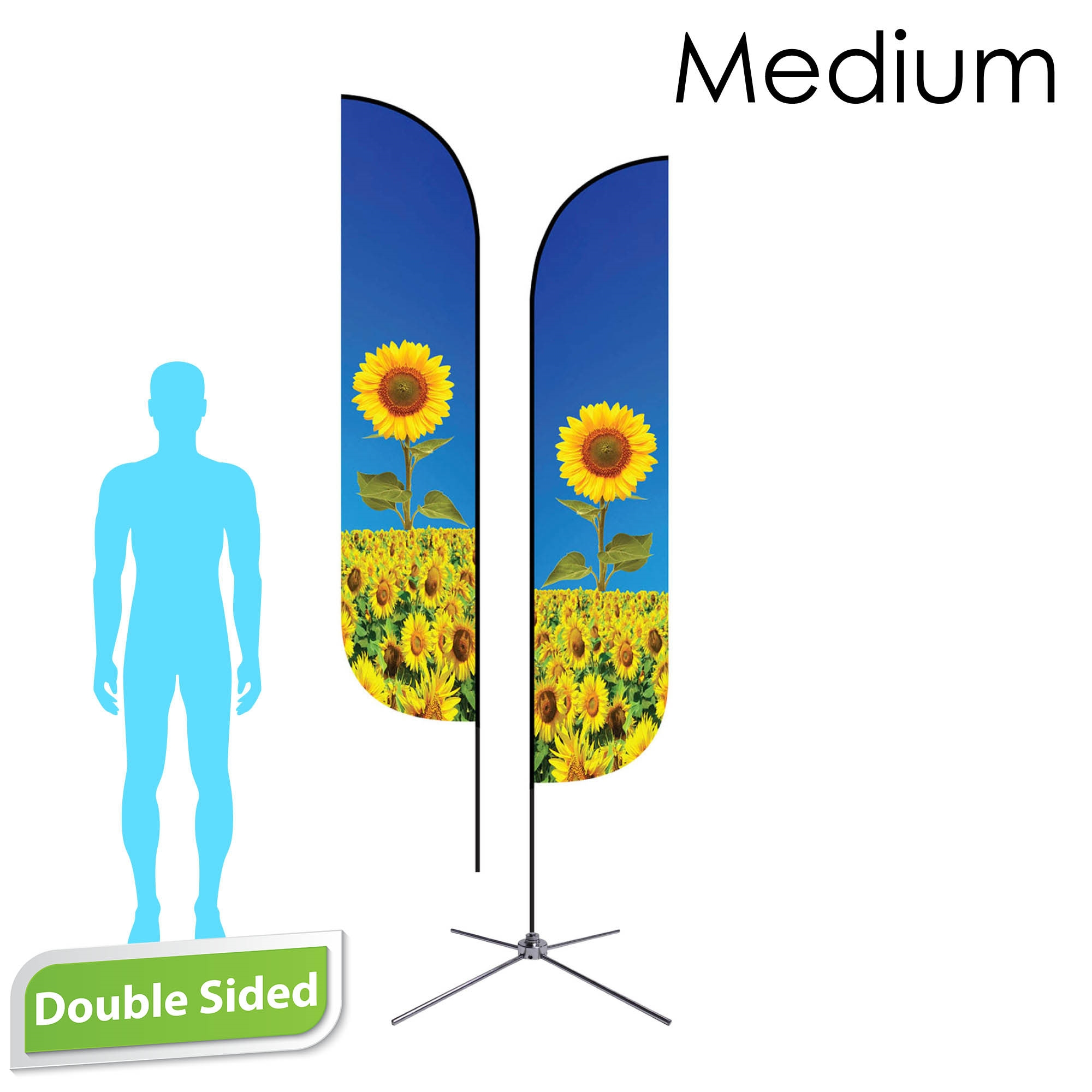 Feather Flag 10' Premium Double-Sided With Chrome X Base & Carry Bag (Medium)