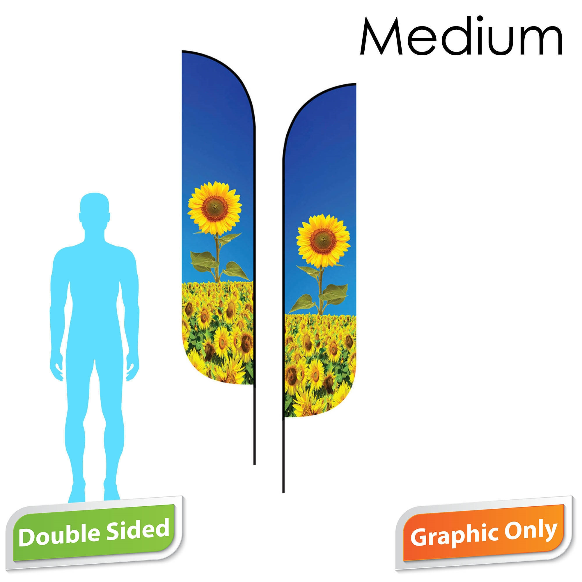 Feather Flag 10' Premium Double-Sided PRINT ONLY (Medium)