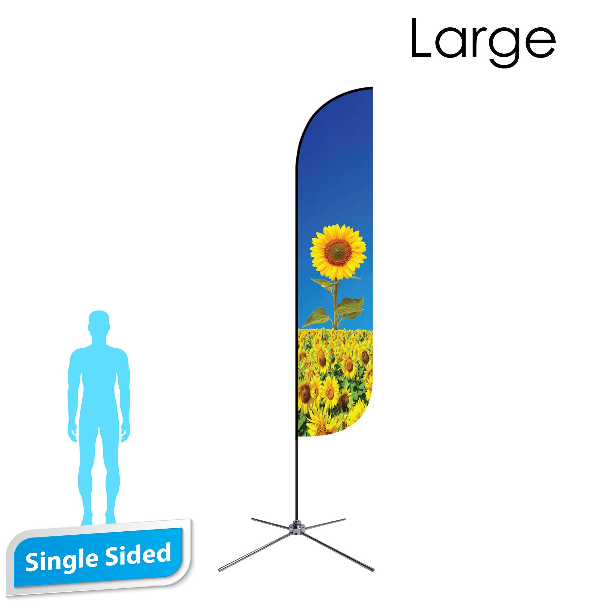 Feather Flag 13' Premium Single-Sided With Chrome X Base & Carry Bag (Large)