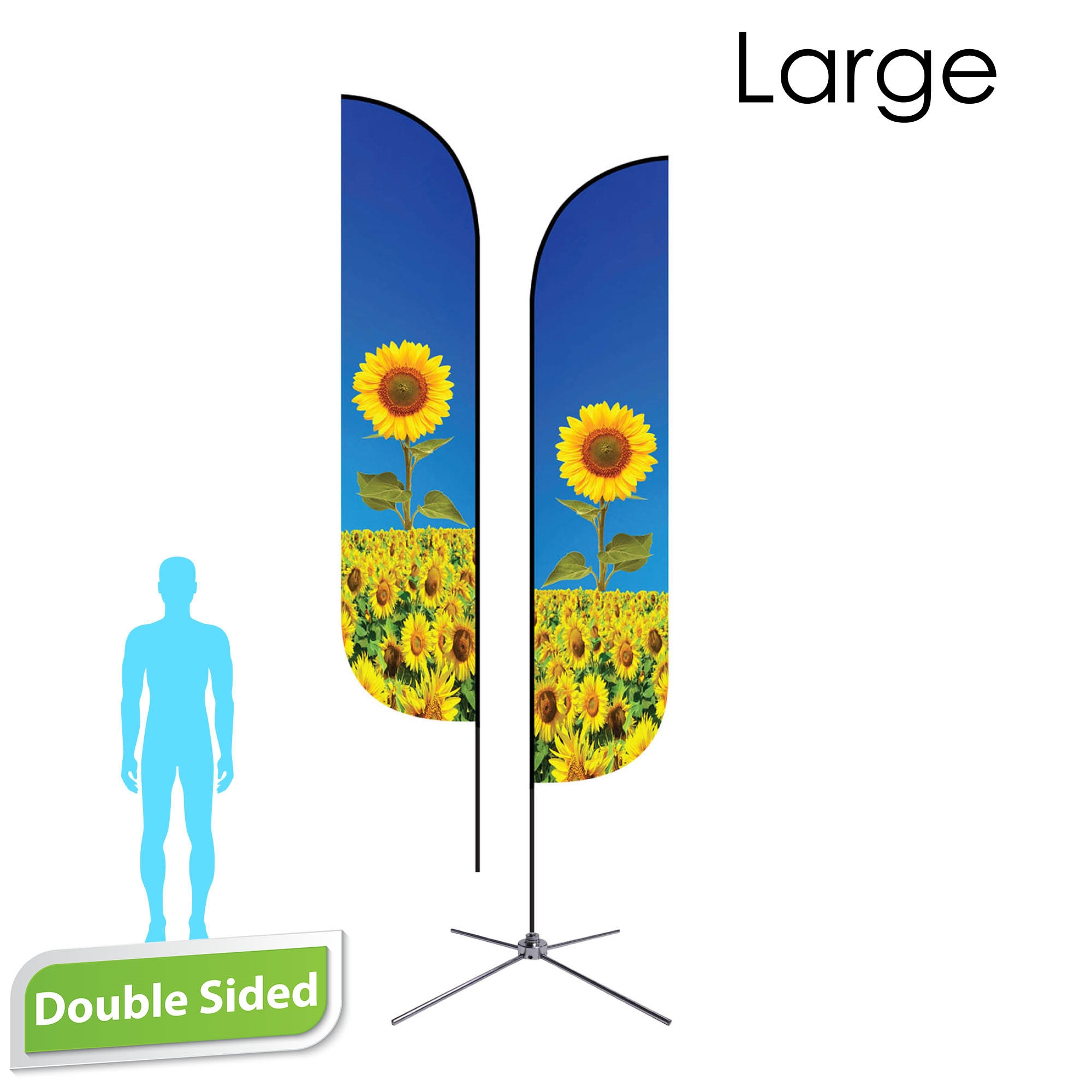 Feather Flag 13' Premium Double-Sided With Chrome X Base & Carry Bag (Large)
