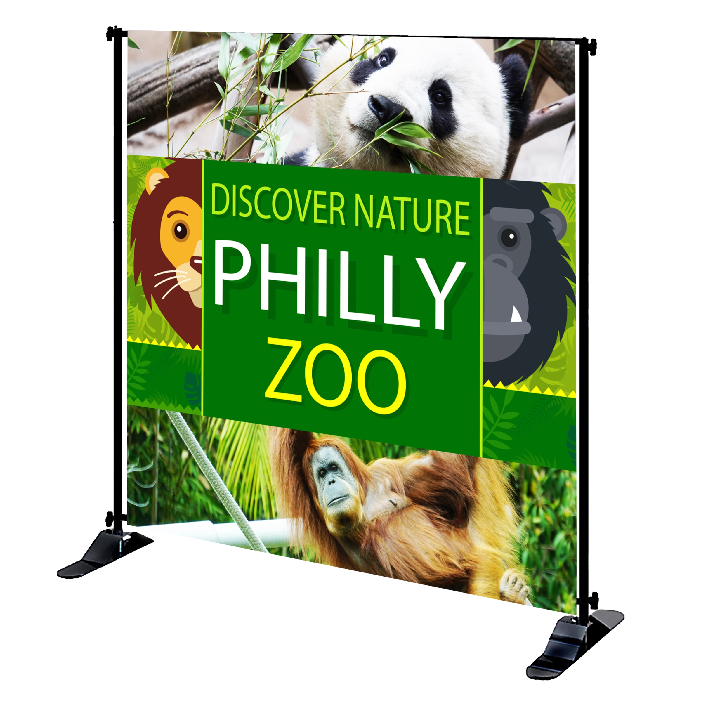 Mighty Banner Display - 8' x 8' Large Tube Frame and Fabric Graphic Kit
