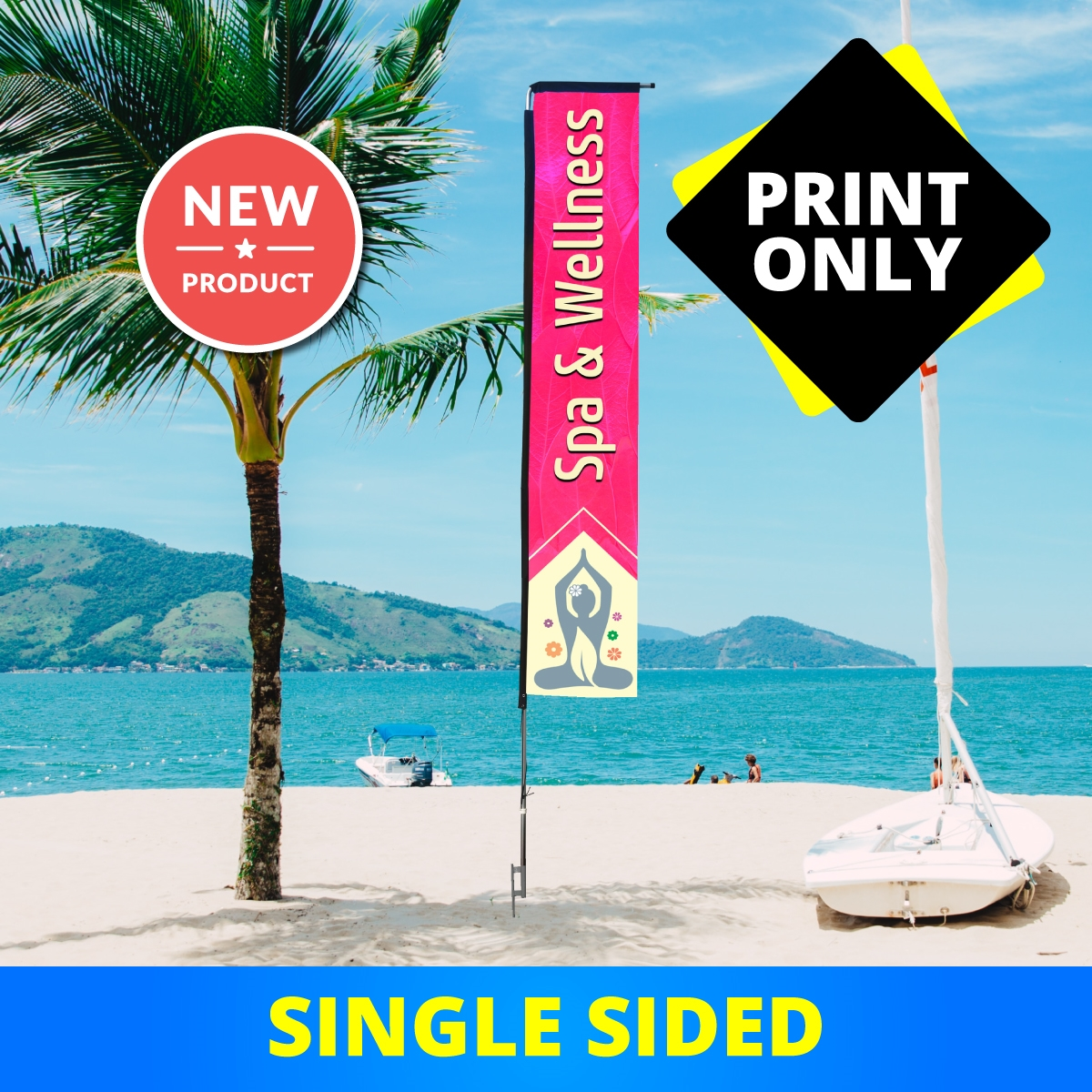 Premium Rectangle Flag 14.5' Single Sided - PRINT ONLY