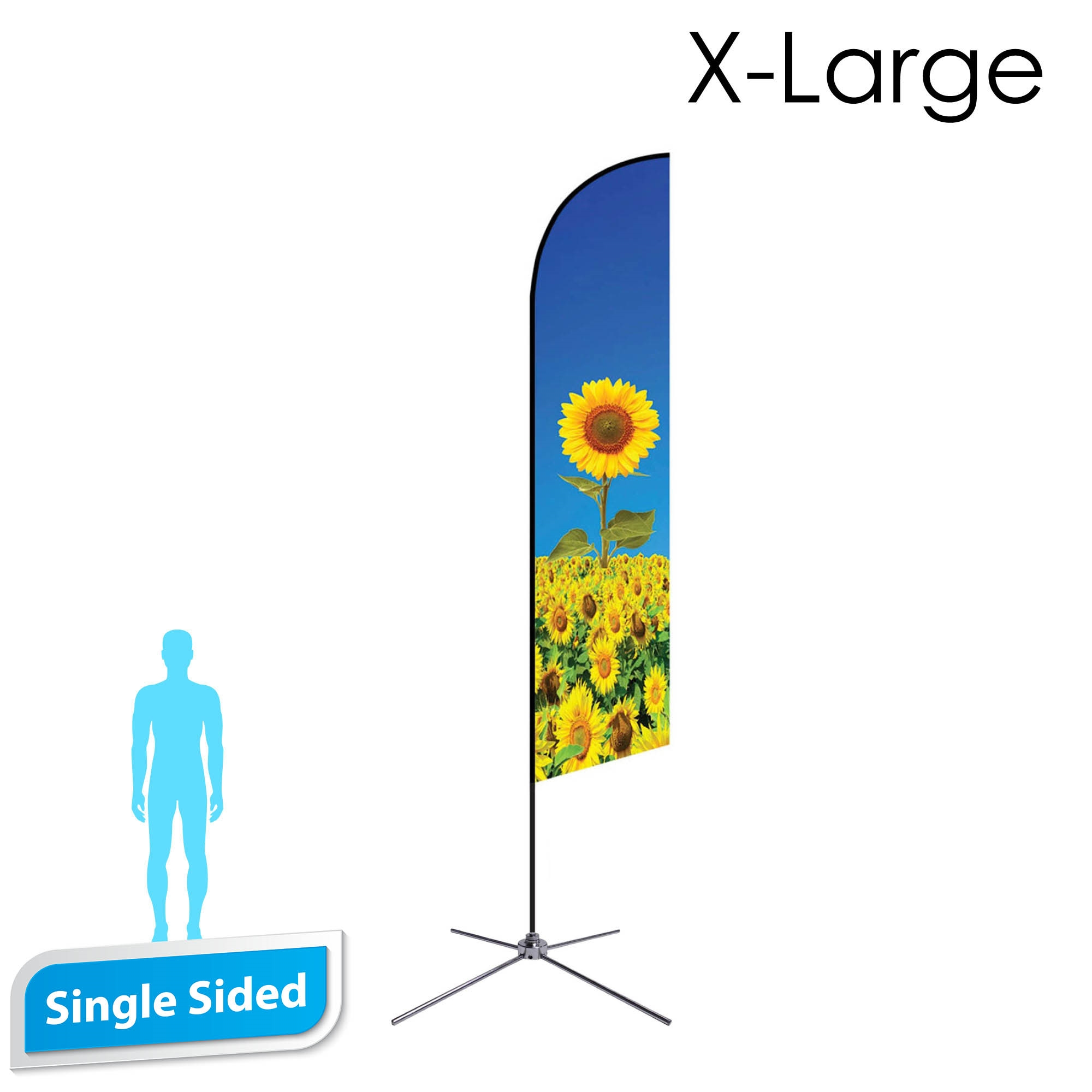 Angle Flag 16.5' Premium Single-Sided With Chrome X Base (X-Large)