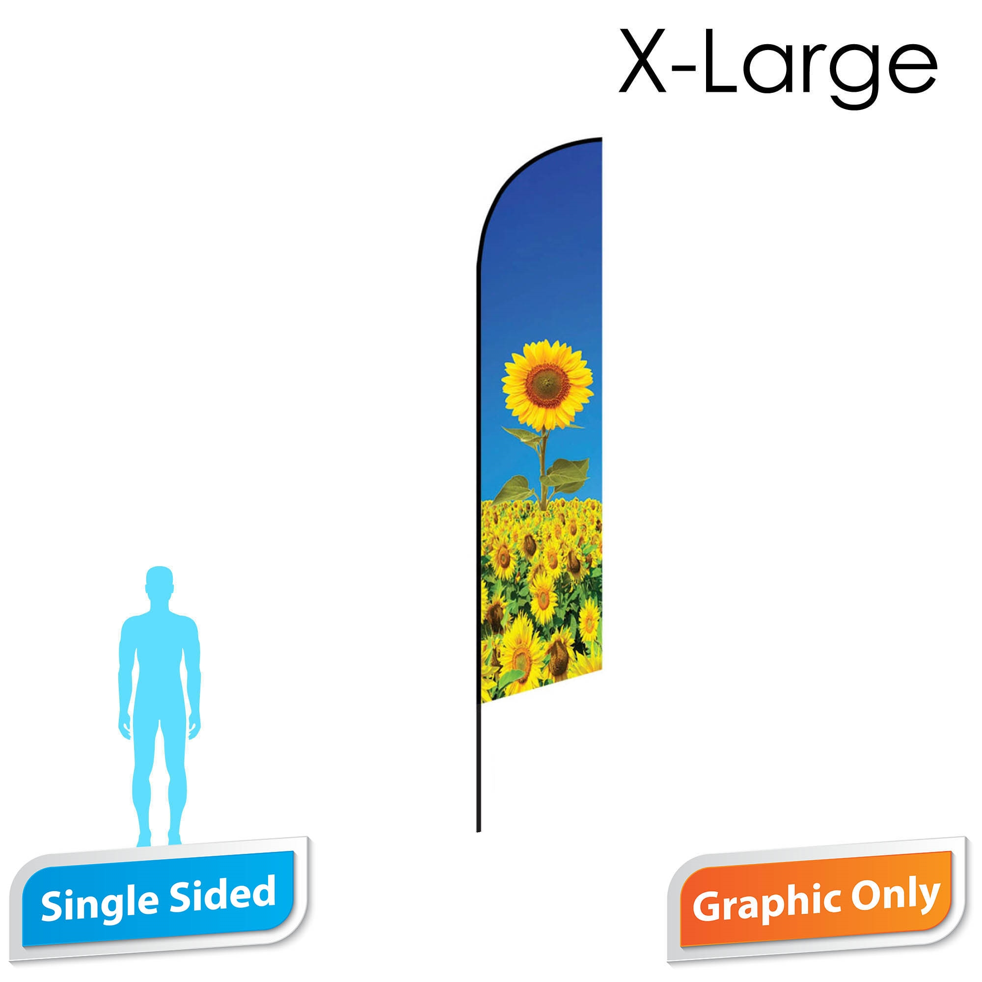 Angle Flag 16.5' Premium Single-Sided PRINT ONLY (X-Large)