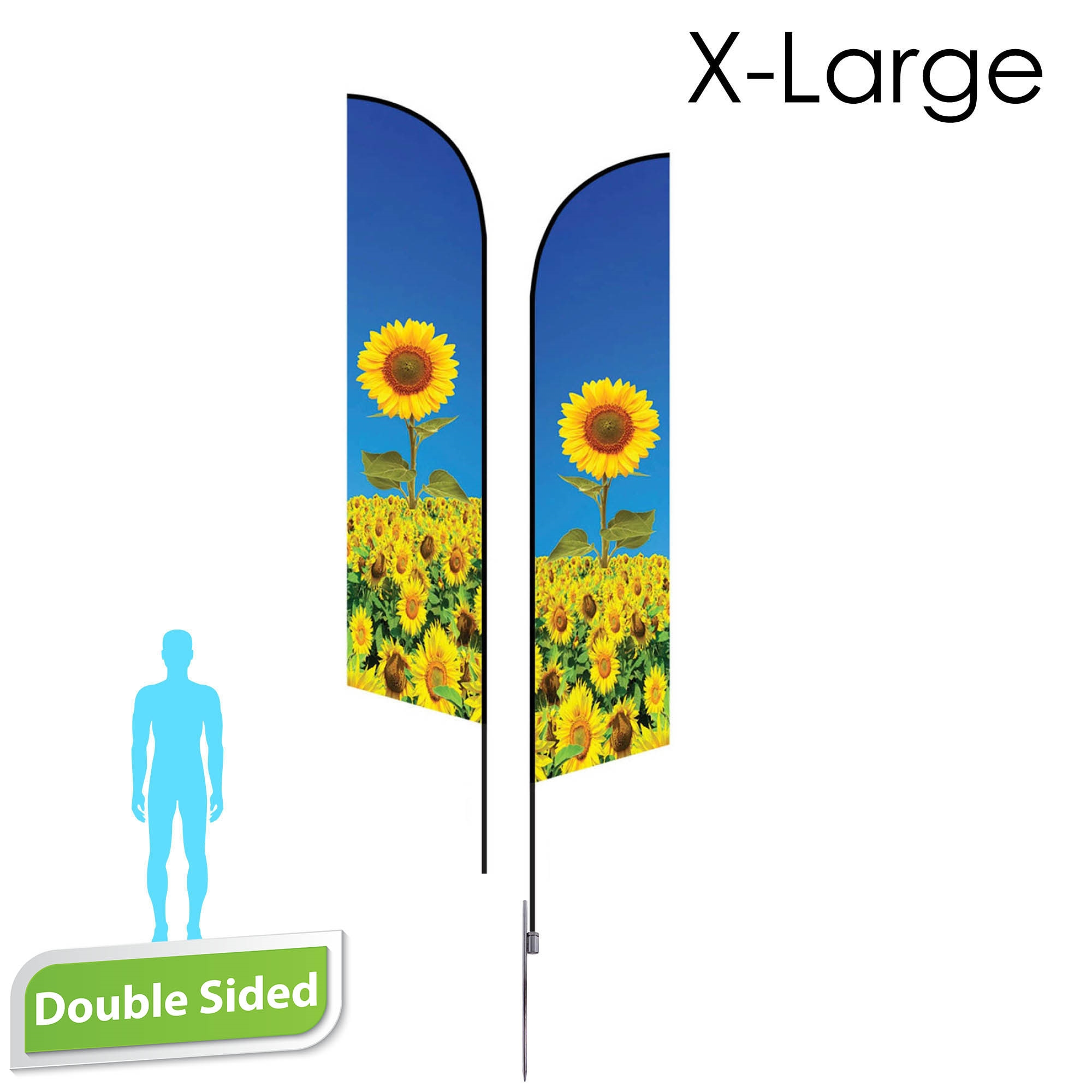 Angle Flag 16.5' Premium Double-Sided With Spike Base (X-Large)