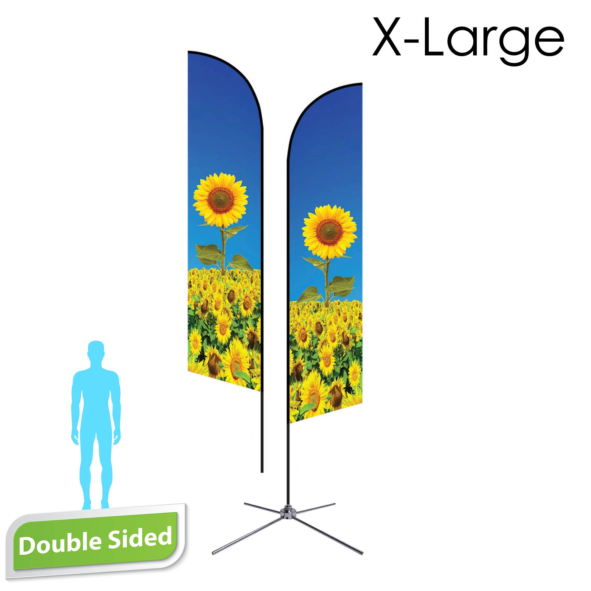 Angle Flag 16.5' Premium Double-Sided With Chrome X Base (X-Large)
