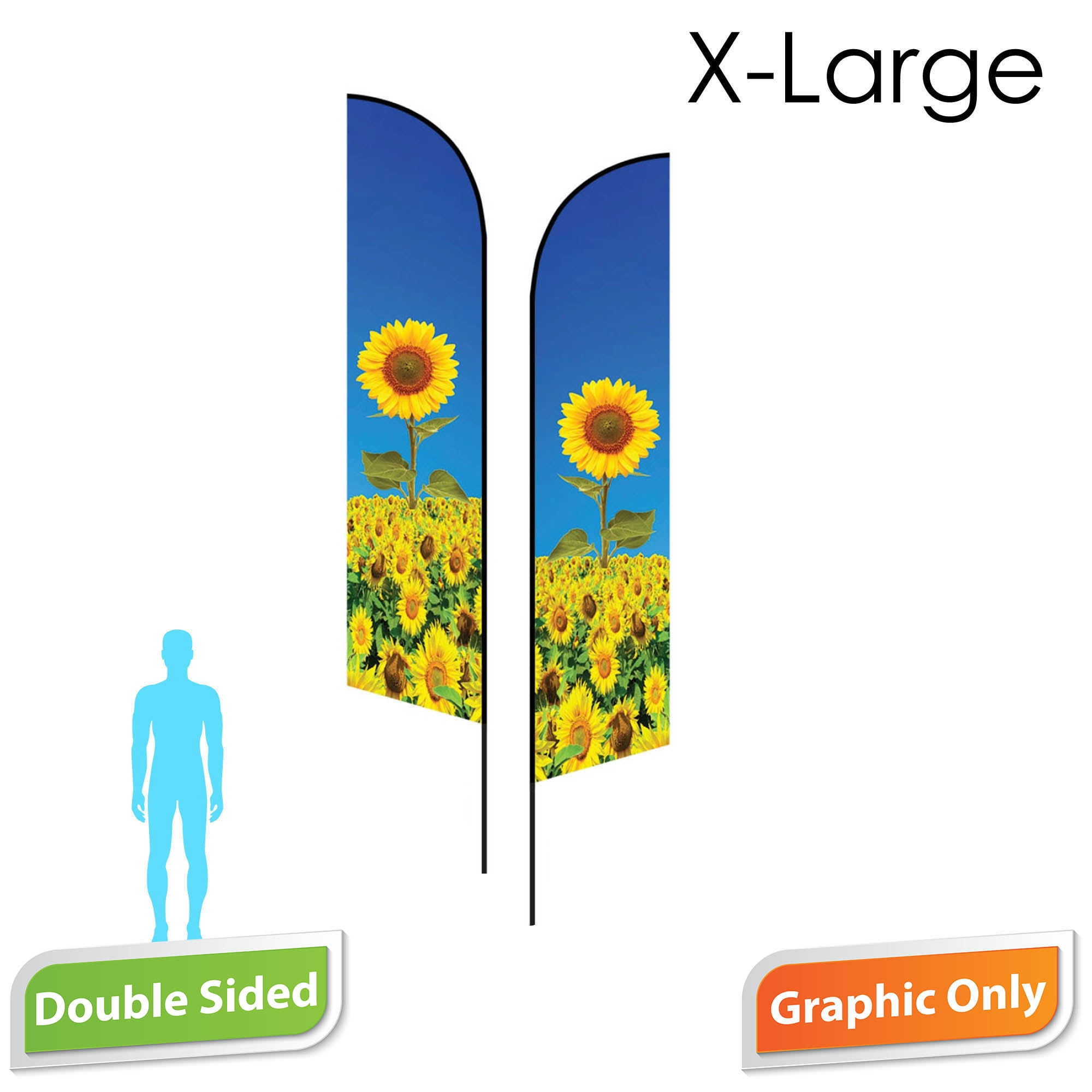 Angle Flag 16.5' Premium Double-Sided PRINT ONLY (X-Large)