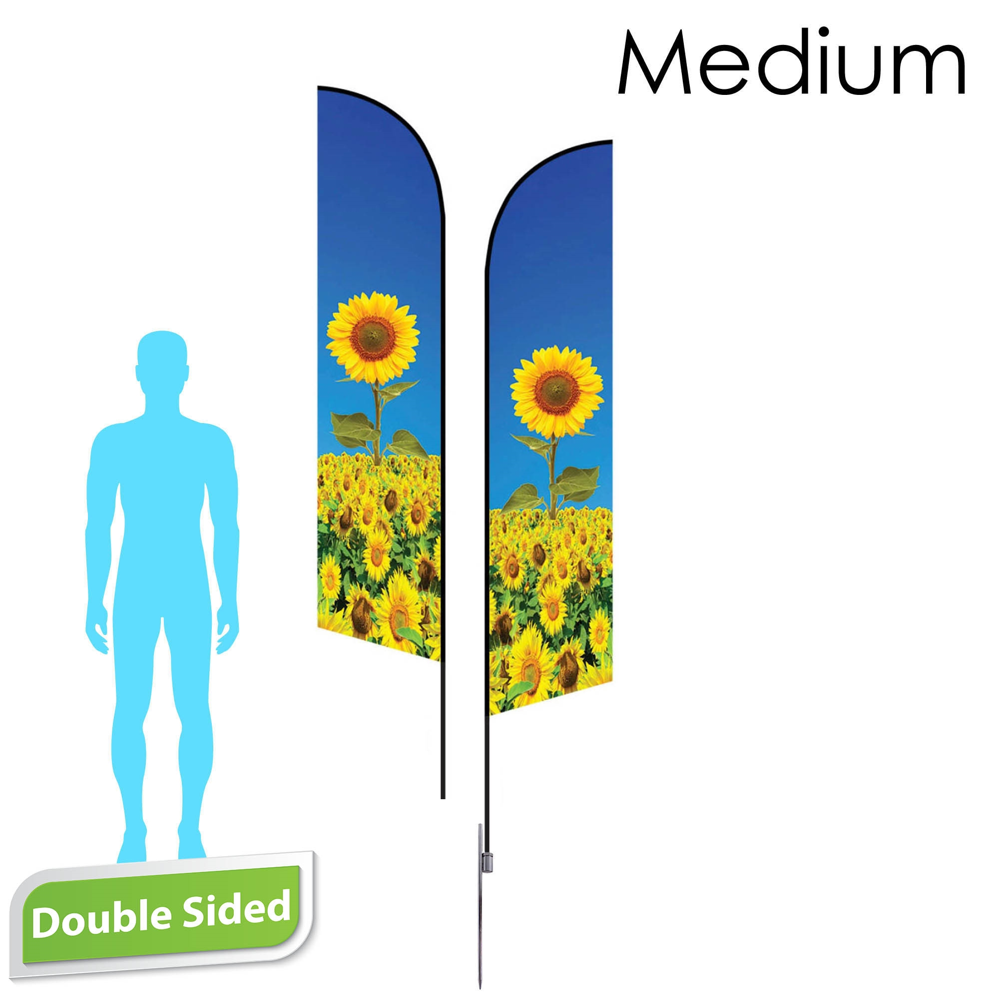 Angle Flag 10' Premium Double-Sided With Spike Base (Medium)