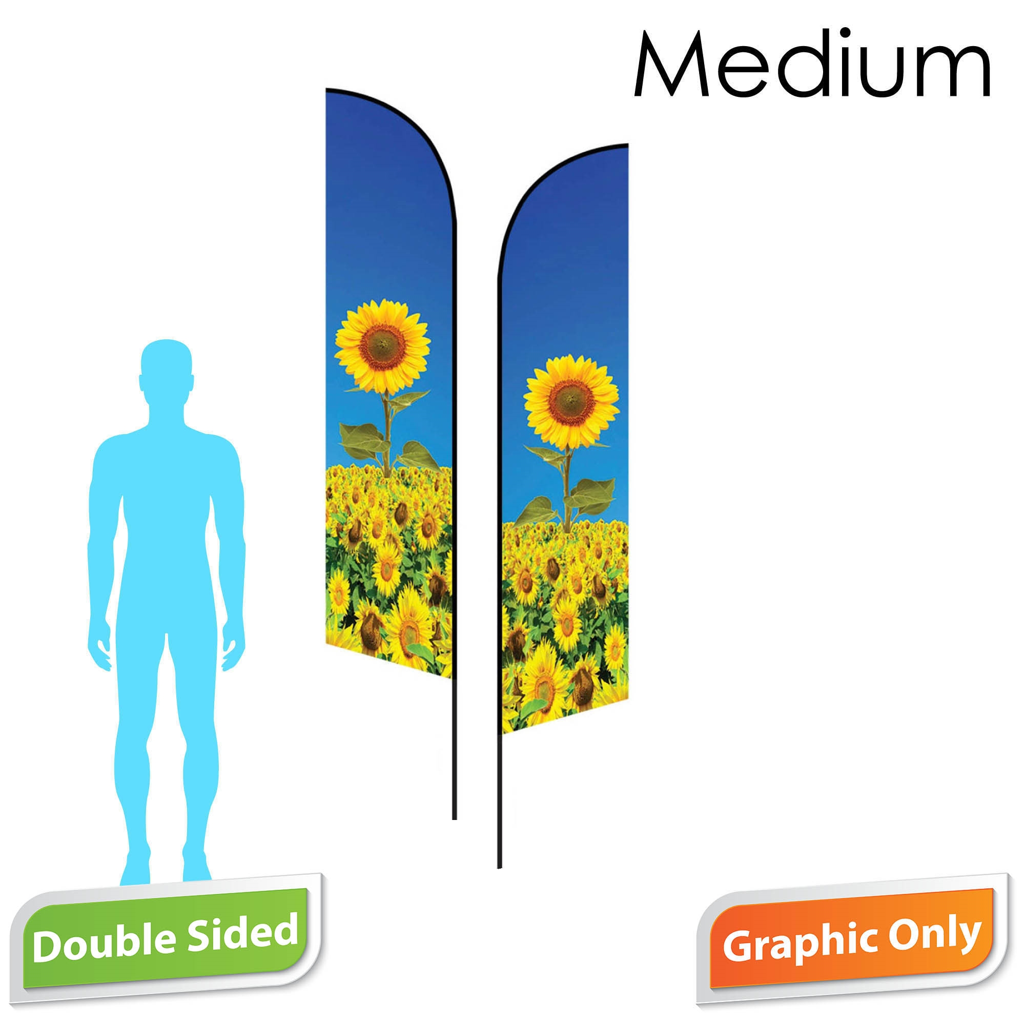 Angle Flag 10' Premium Double-Sided PRINT ONLY (Medium)