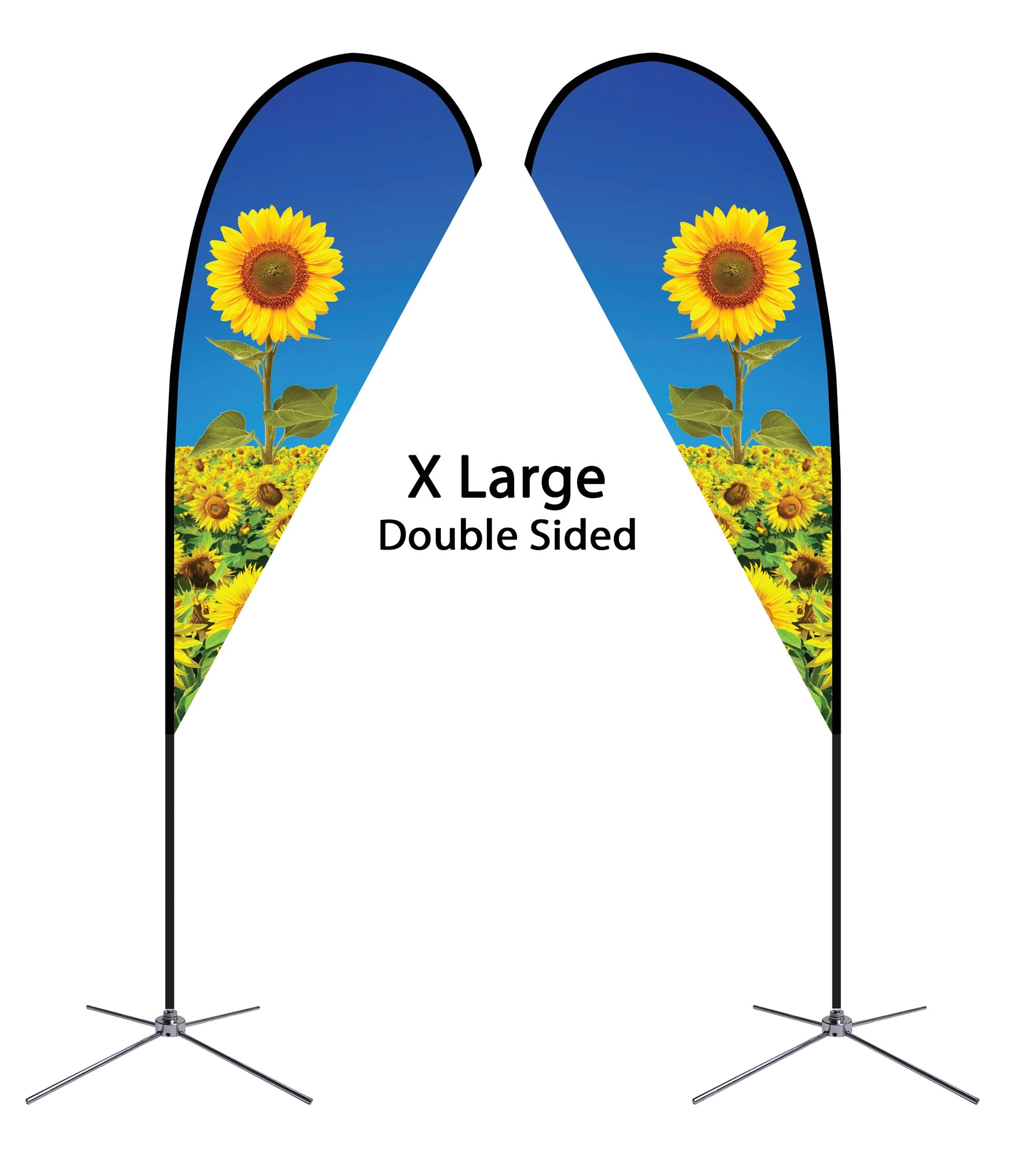 Teardrop Flag 16' Premium Double-Sided With Chrome X Base (X-Large)