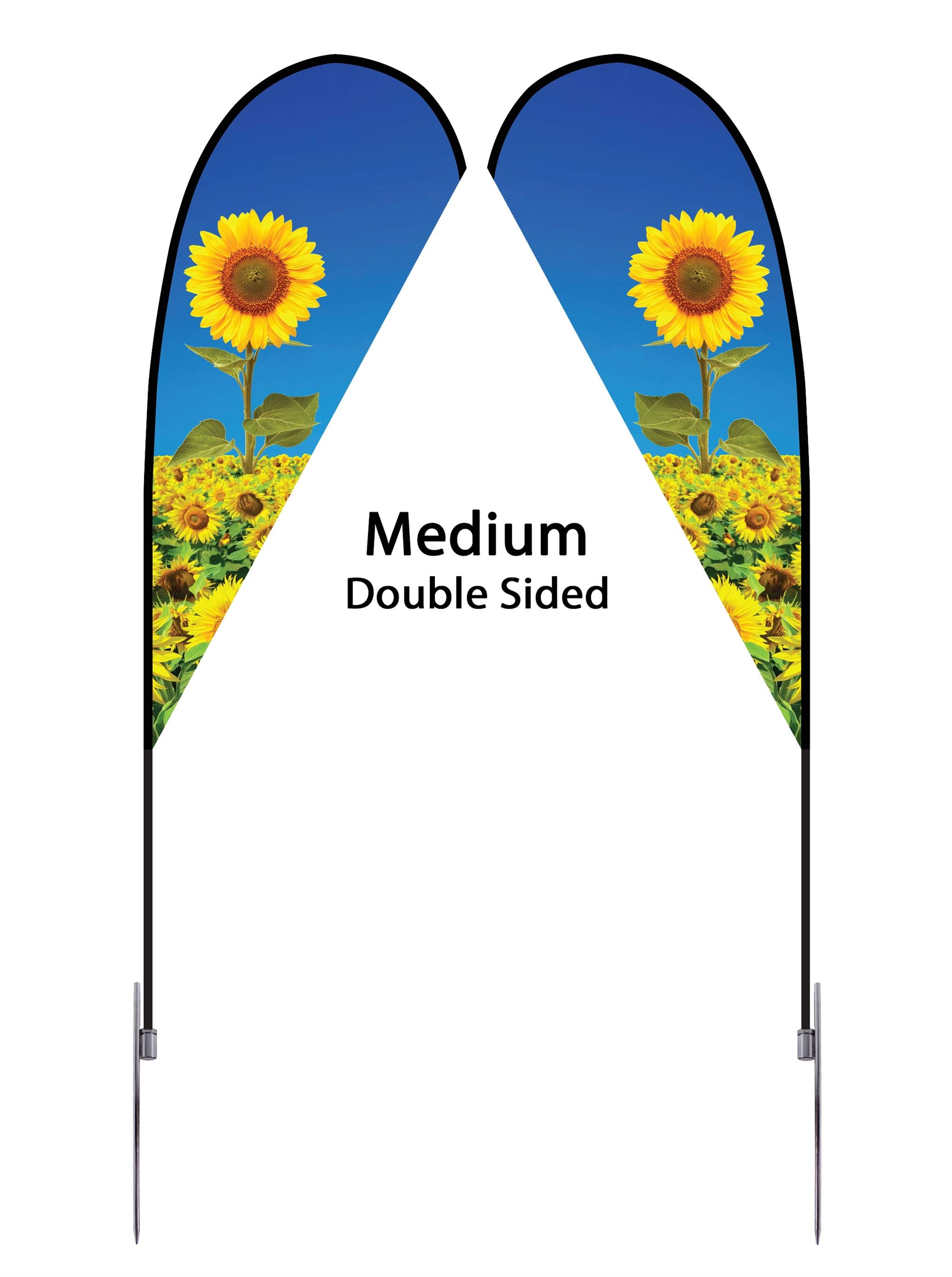 Teardrop Flag 9' Premium Double-Sided With Spike Base (Medium)