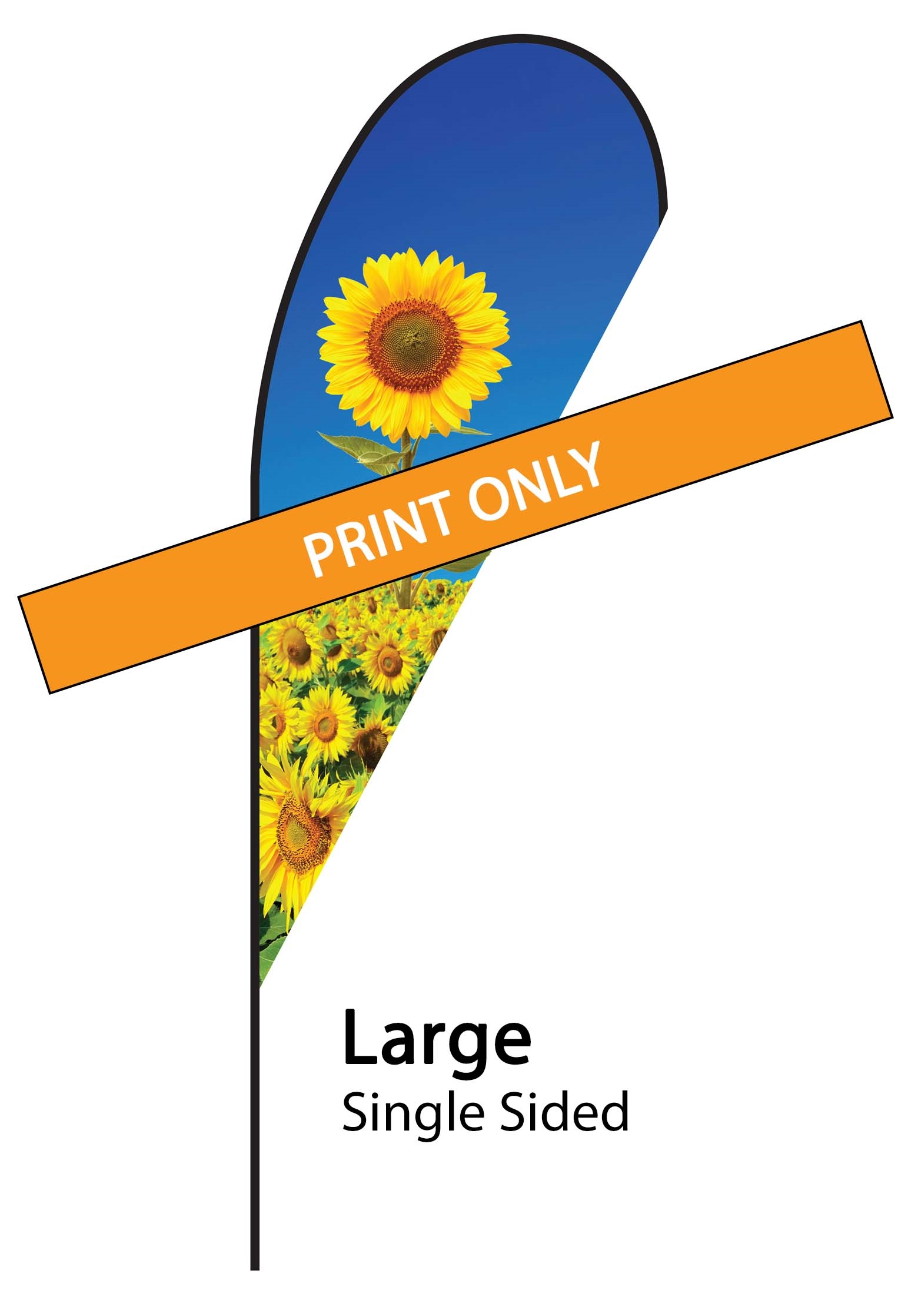 Teardrop Flag 12' Premium Single-Sided Print Only (Large)