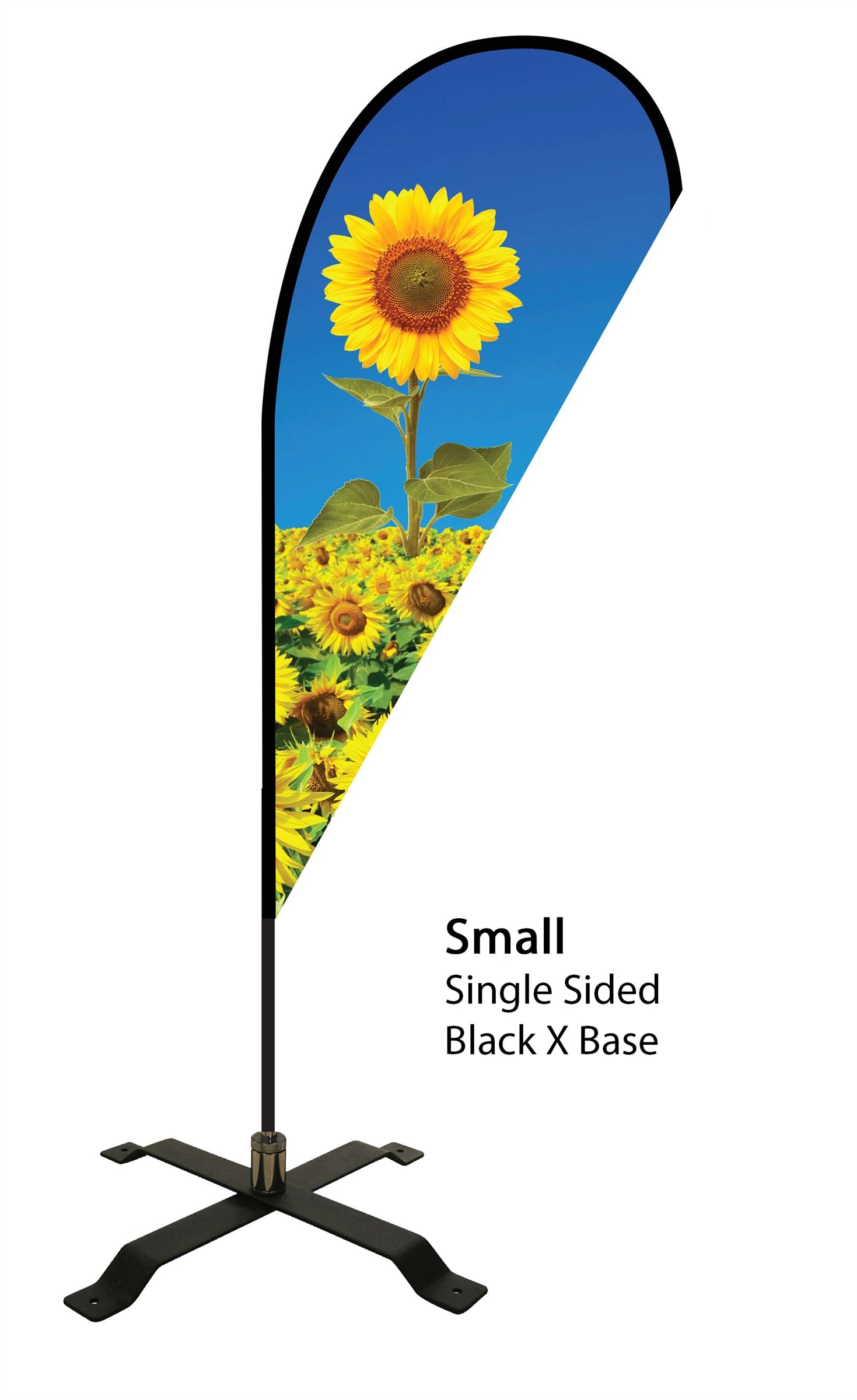 Teardrop Flag 7' Premium Single-Sided With Black X Base (Small)