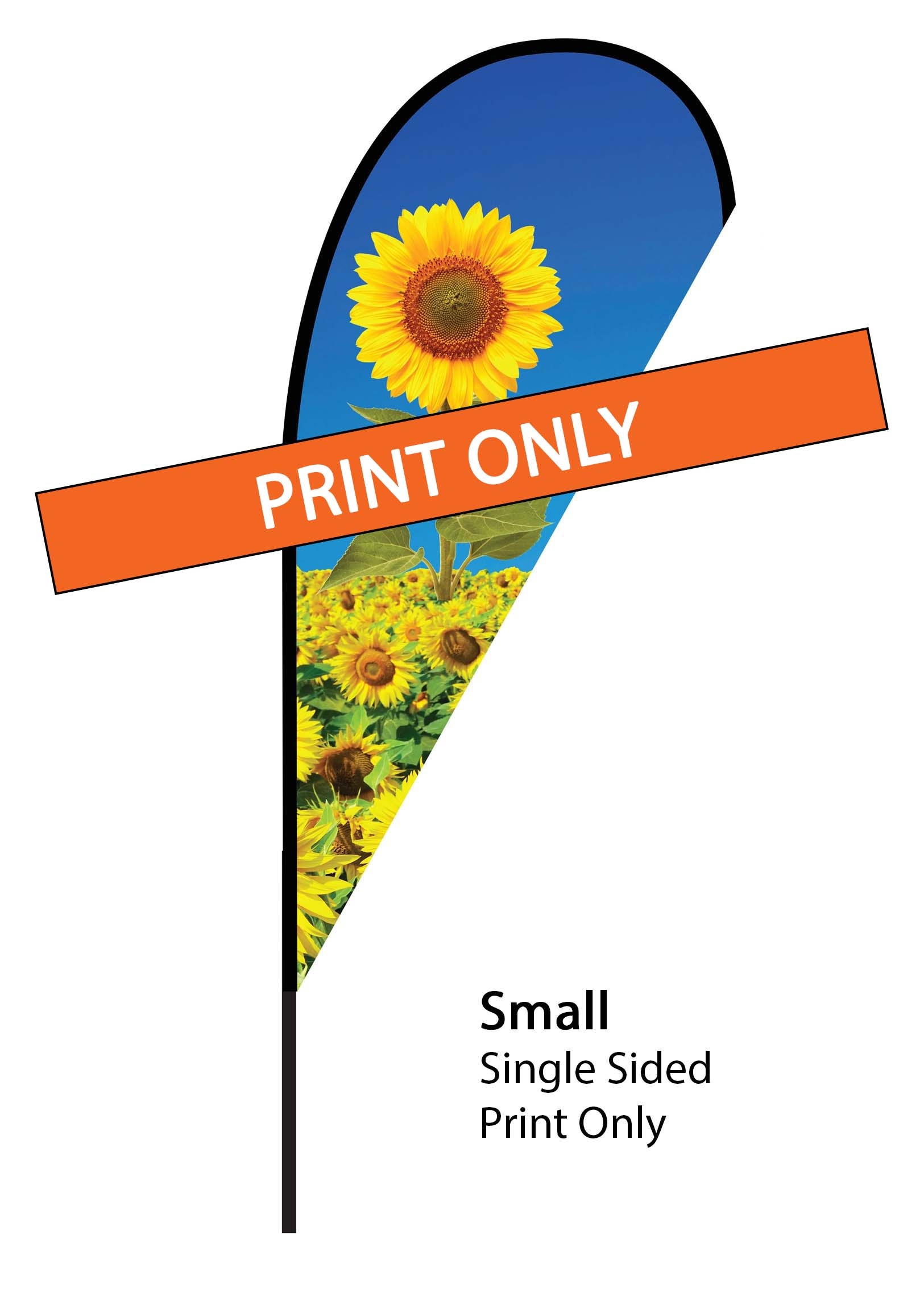 Teardrop Flag 7' Premium Single-Sided Print Only (Small)