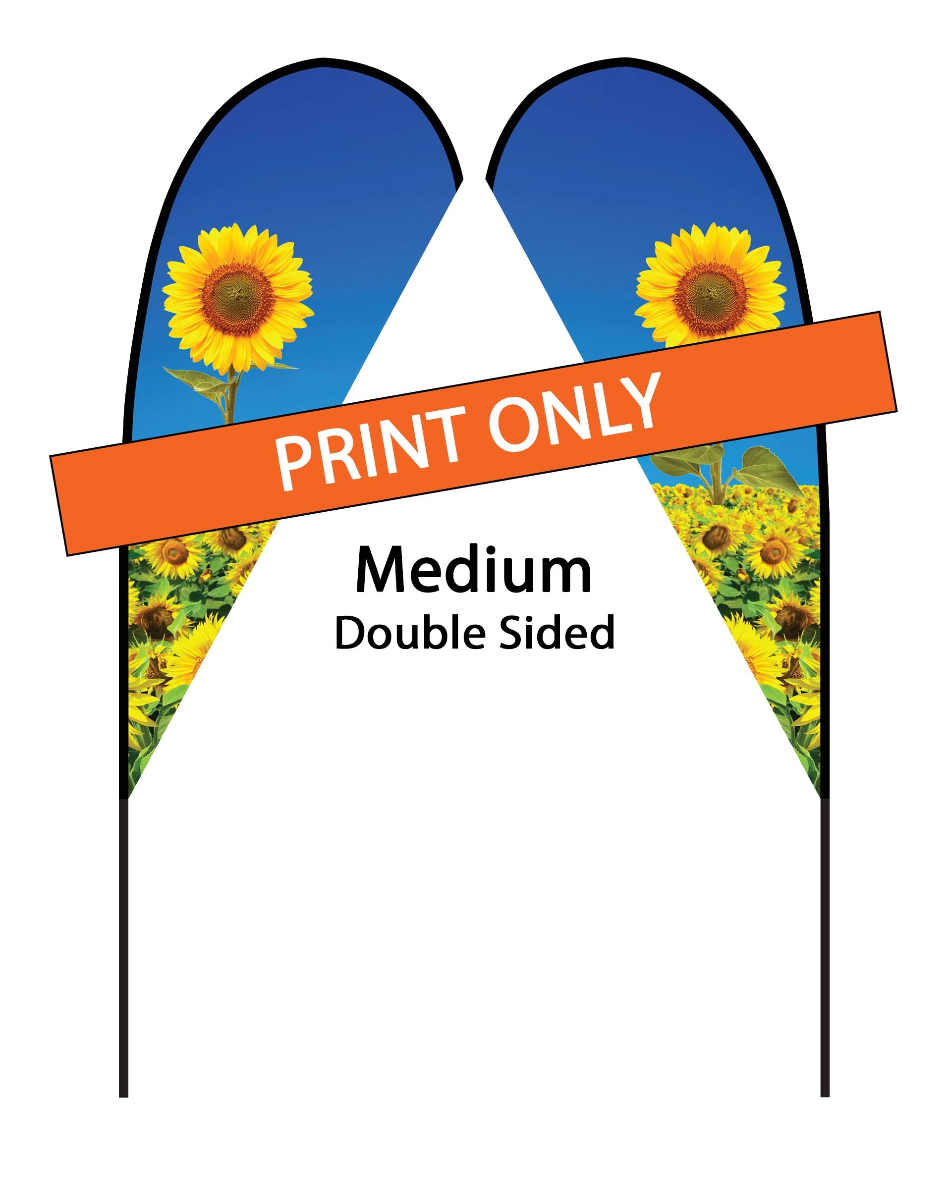 Teardrop Flag 9' Premium Double-Sided Print Only (Medium)