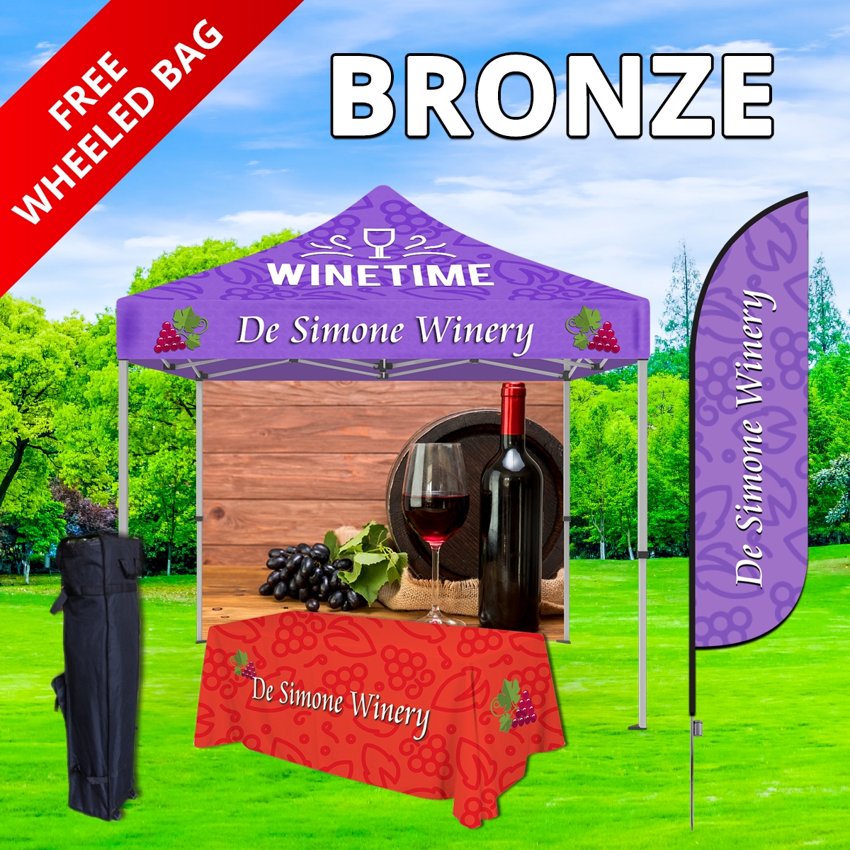 Bronze Tier Event Package - 10Ft. Steel Tent with Full Color Dye Sublimated (1) 6ft Table Throw, (1) Canopy and (1) Back Wall (1) 8.5 Ft. Single Sided with Spike Base (1) Free Wheeled Bag