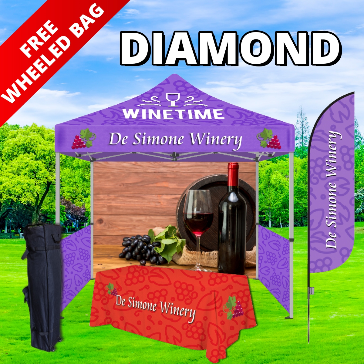 Diamond Tier Event Package - 10Ft. Steel Tent with Full Color Dye Sublimated (1) 6ft Table Throw, (1) Canopy, (1) Back Wall and (2) Side Walls with (2) Rails (1) 8.5 Ft. Single Sided with Spike(1) Free Wheeled Bag