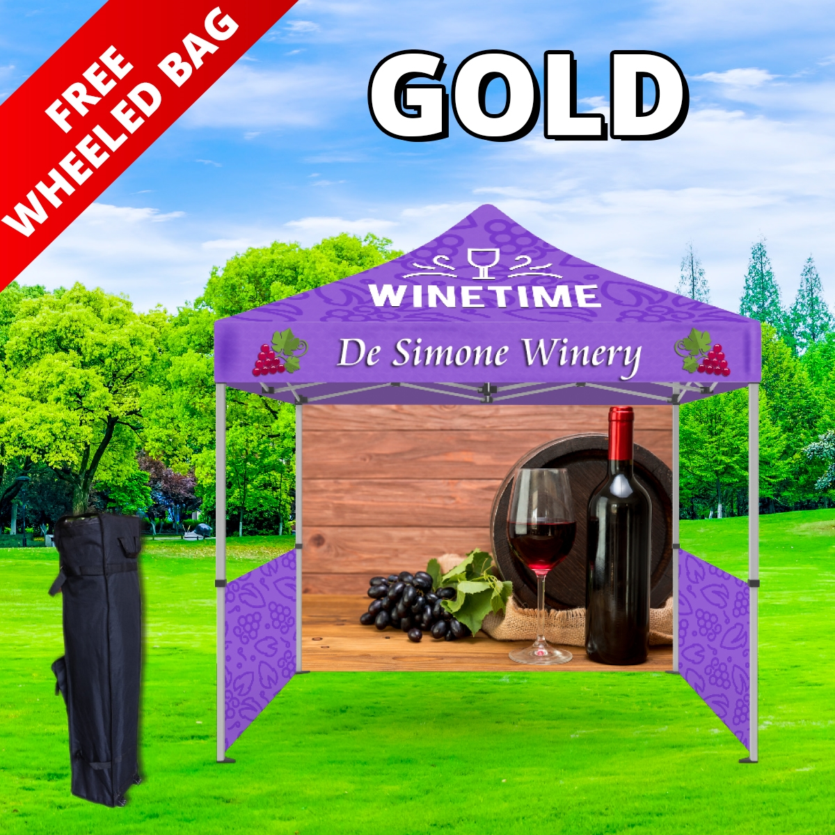 Gold Tier Event Package - 10Ft. Steel Tent with Full Color Dye Sublimated (1) Canopy, (1) Back Wall and (2) Side Walls with (2) Rails (1) Free Wheeled Bag