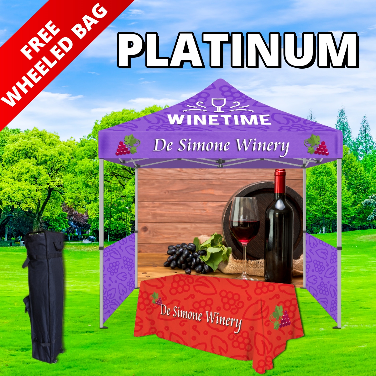 Platinum Tier Event Package - 10Ft. Steel Tent with Full Color Dye Sublimated (1) 6ft Table Throw, (1) Canopy, (1) Back Wall and (2) Side Walls with (2) Rails (1) Free Wheeled Bag
