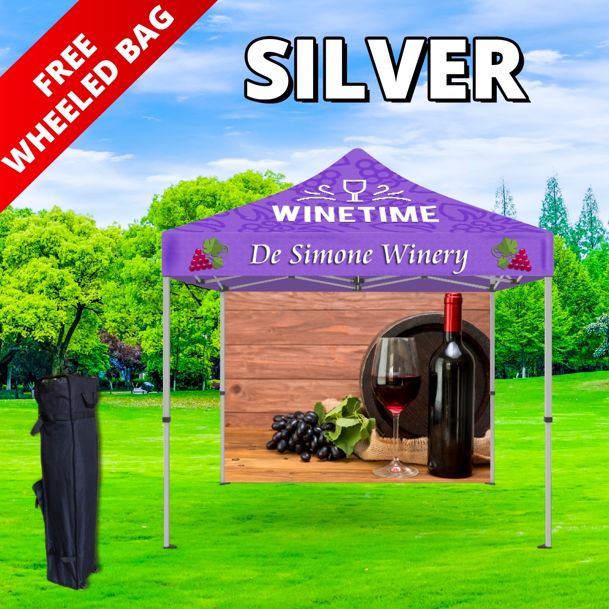 Silver Tier Event Package - 10Ft. Steel Tent with Full Color Dye Sublimated (1) Canopy, (1) Back Wall (1) Free Wheeled Bag