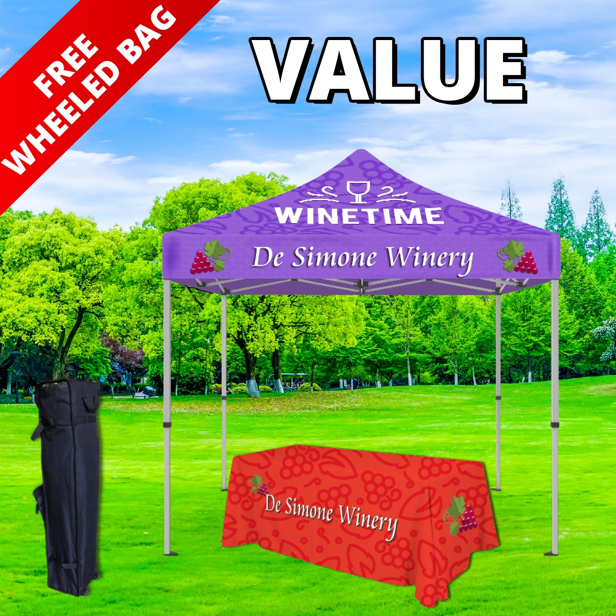 Value Tier Event Package - 10Ft. Steel Tent with Full Color Dye Sublimated (1) 6ft Table Throw, (1) Wheeled Carry Tent Bag