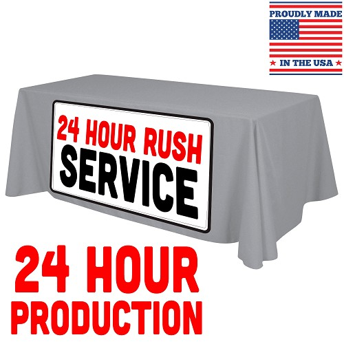 "6ft x 30""T x 29""H *24 HOUR RUSH* Standard Table Throw (FULL COLOR - FULL BLEED) Dye Sublimation"