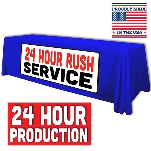 "8ft x 30""T x 29""H *24 HOUR RUSH* Standard Table Throw (FULL COLOR - FULL BLEED) Dye Sublimation"