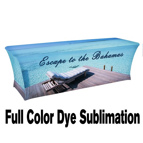 "8 ft. 30""Top x 29""H - 4 Sided Stretch Table Throw (FULL COLOR PRINT) Dye Sublimation"