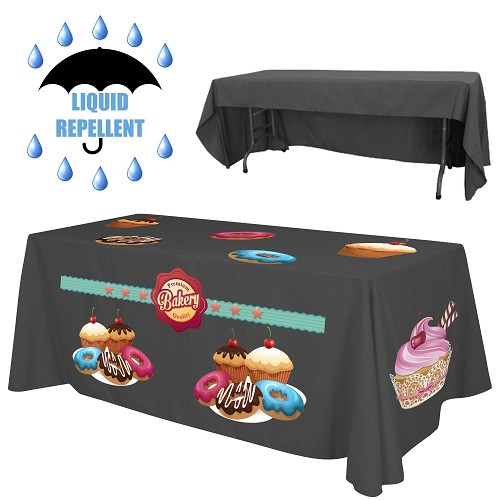 "6 ft x 30""Top x 29"" H - 3 Sided Liquid Repellent Table Throw (FULL COLOR PRINT)"
